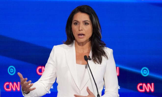 Democratic presidential candidate Rep. Tulsi Gabbard speaks during the fourth U.S. Democratic presidential candidates 2020 election debate in Westerville, Ohio